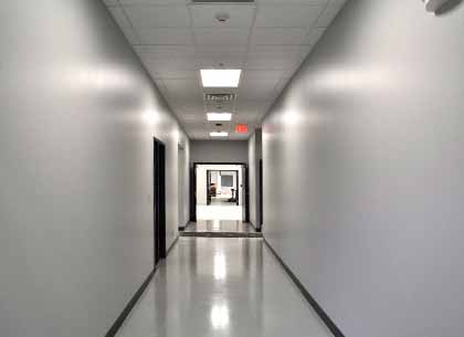 Hallway to lab space and clean rooms at Vuzix headquarters