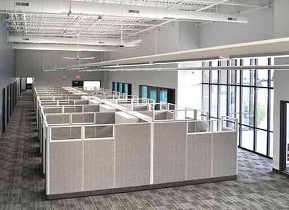 Cubicles and office space taken from mezzanine at Vuzix headquarters
